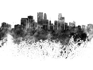 Wall Mural - Minneapolis skyline in black watercolor on white background