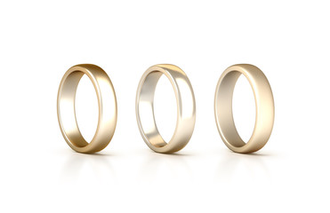 Gold rings set stand isolated, matte and gloss jewelry, clipping path, 3d rendering. White golden wedding ciclet with micro scratches. Yellow satined gilt metal circles.
