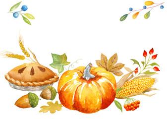 Autumn watercolor card