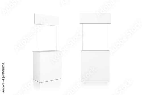Trade Exhibition Stand Mockup Free Download : Quot blank white promo counter mockup stand front and side