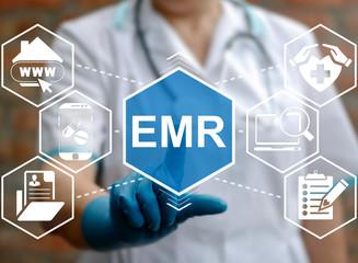 Medicine, information technology, healthcare concept - doctor presses emr acronym word. Electronic medical records service, support. Nurse touched emr sign. Medical, treatment, application, insurance.