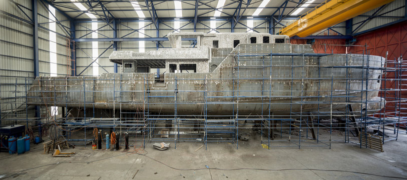 View from making of a yacht in a shipyard