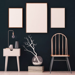 mockup posters in the interior in copper frames on dark background. 3d