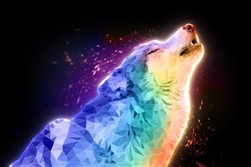 Иллюстрация воющий волк. Волк воет на луну.