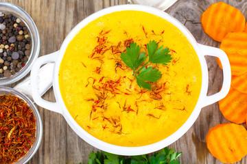 Vegetable Cream Soup with Saffron Diet Food
