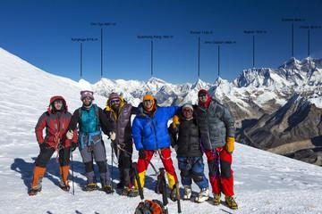 Group of Mountain Climbers on High Altitude Mountain of Himalaya