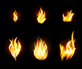 Vector transparent fire flames set on dark background