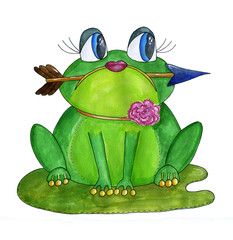 Green frog with an arrow in her mouth. Watercolor hand drawn illustration