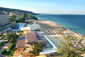 Resort Sunny Beach Bulgaria panorama of the beach and hotels. Panoramic view Sunny Beach Bulgaria.