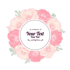 Vintage flower frame with pink poppies.Vector illustration