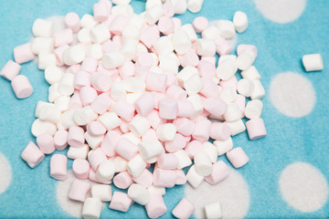 rash marshmallow on a blue background