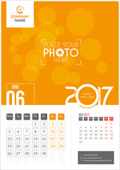 June 2017. Calendar for 2017 Year. 2 Months on Page. Vector Design. Template with Place for Photo and Company Logo