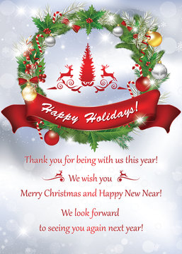 Business card for the End of the Year, for print. Thank you for being with us this year. Merry Christmas and Happy new Year, We look forward to seeing you again next year. Suitable for retail business