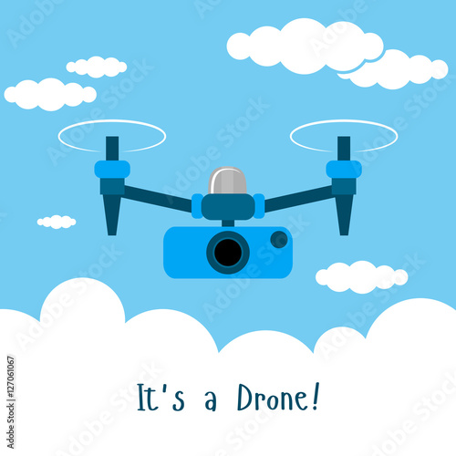 Drone With Action Camera Photo And Video Icon Vector Illustration Blue Sky