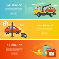 Car service banner set, vector illustration