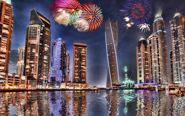 New Year fireworks display in Dubai Marina, UAE
