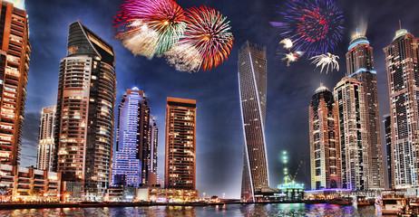New Year fireworks display in Dubai Marina, UAE