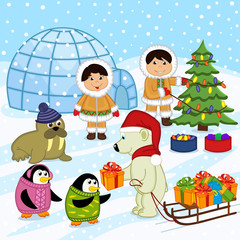 polar bear in the hat of Santa gives gifts - vector illustration, eps
