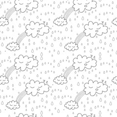 Abstract seamless rainy pattern with clouds and drops.