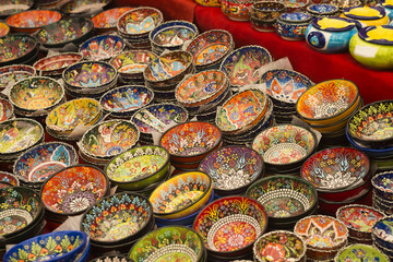 Close-up view of handmade colorful traditional Turkish ceramic plates