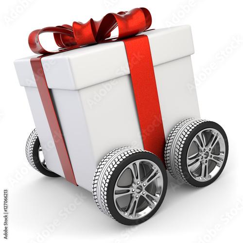 3d geschenk auf r der vom paketdienst zu weihnachten. Black Bedroom Furniture Sets. Home Design Ideas