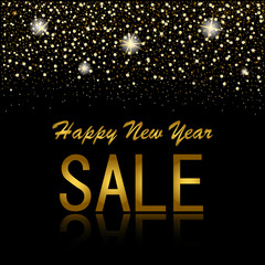 eps 10 vector sell-out poster. Happy new year sale and discount advertising banner for web, print. Luxury stylish golden glitter, shiny falling stars, snowflakes, mirror reflection. Graphic clip art