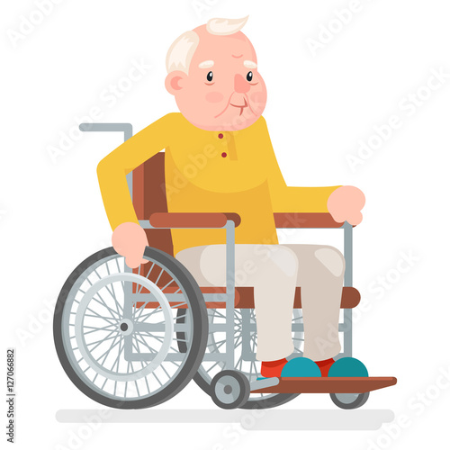 wheelchair old man character sit adult icon cartoon design vector