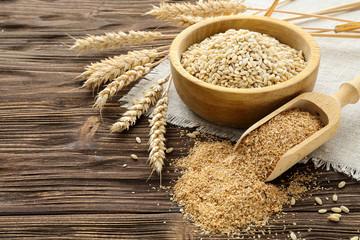 Bran, grain and wheat ears