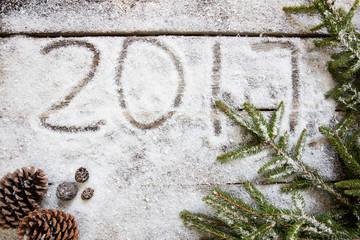 2017 on white snow wallpaper with natural symbols, top view