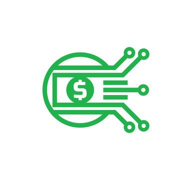 Mobile payment. Digital money dollar - vector logo template illustration. Currency - creative sign. Design element.