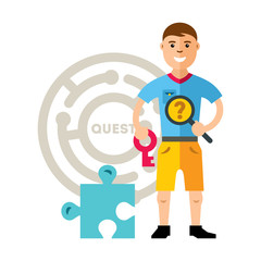 Vector Quest room and man. Flat style colorful Cartoon illustration.