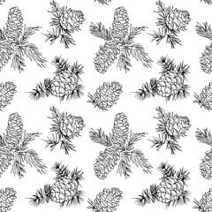 Seamless pattern with fir cones