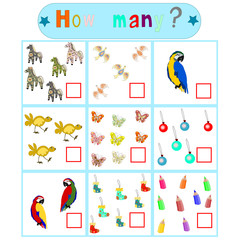 "Children's logical educational educational game ""How many?"""