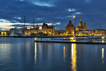 Harbor of Stralsund in the sunset, Germany