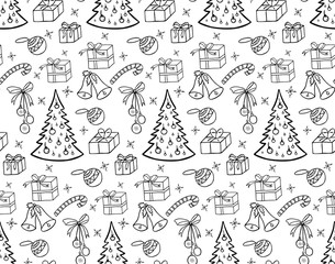 Christmas background.  Illustration for a  wrapping paper,  wallpaper.  Black-and-white drawing. White background.   Seamless vector pattern.