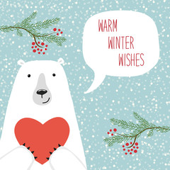 Cute hand drawn winter holidays card with polar bear and hand written text Warm winter wishes on snowy background