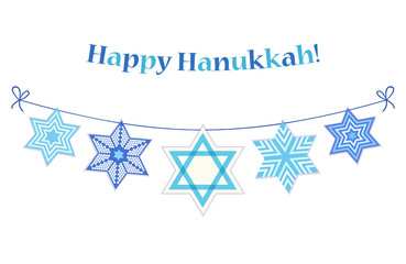 Cute festive bunting flags Happy Hanukkah in traditional colors for your decoration