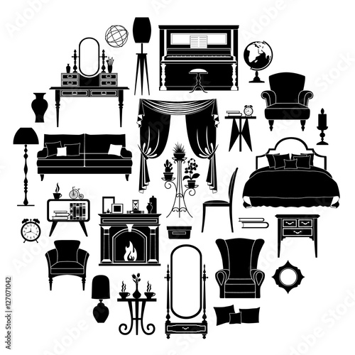 Set of silhouettes of furniture. Templates and stencils for your ...