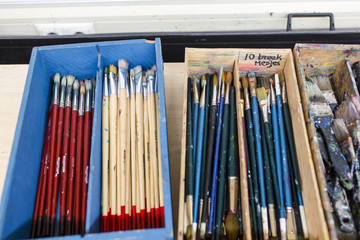 Paintbrushes in a box