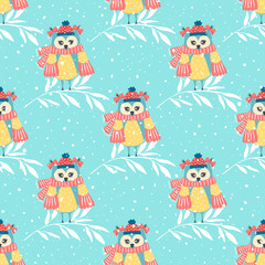 Photo sur Plexiglas Hibou Beautiful seamless wallpaper with owls