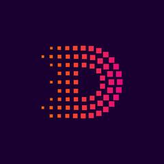 Letter D logo.Dots logo colorful,pixel shape logotype vector design