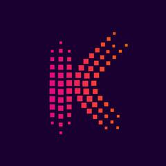 Letter K logo.Dots logo colorful,pixel shape logotype vector design
