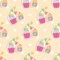 Photo sur Plexiglas Hibou Seamless pattern with cakes on a beige background