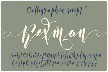 "Elegant calligraphic script font named ""Kexman"" with beautifull curls swashes"