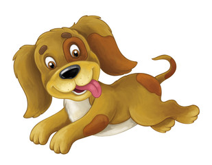 Cartoon happy dog is jumping and looking - artistic style - isolated - illustration for children