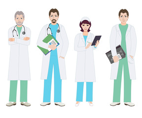 Hospital workers. Doctors and nurse. Profession doctor, men and woman are set in doctoral robes. The surgeon and the therapist. Medical vector illustration.