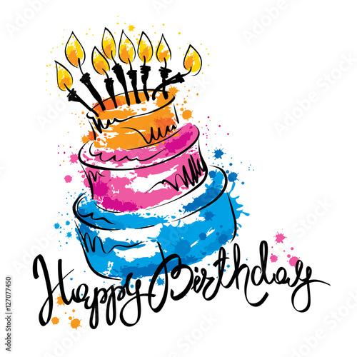 """Cake Ans Happy Birthday / Handwritten Vector Calligraphy"