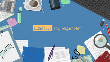 The concept of business management. Desk with documents and stationery top view. Vector flat