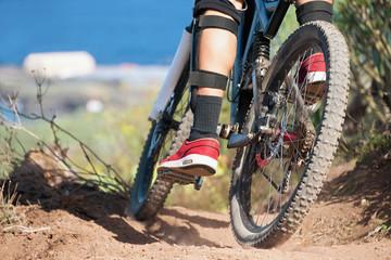 Downhill mountain bike,man cyclist to riding a bicycle.