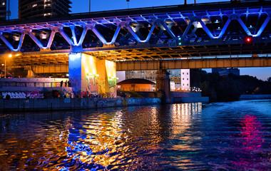 Light-colored water under bridge
